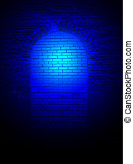 abstract blue light on the stone wall, science details