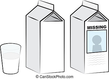 Milk Cartons - Milk cartons and glass of milk