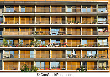 Balconies of a modern building - Facade with balconies of a...
