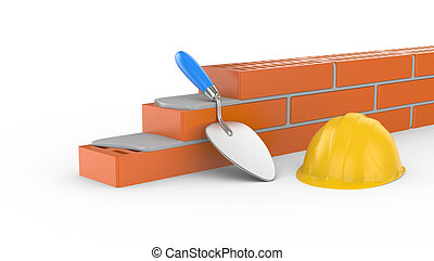 trowel, helmet and brick, 3d illustration on white...