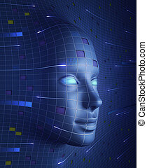 Face of Technology - Human face with symbols and draws that...