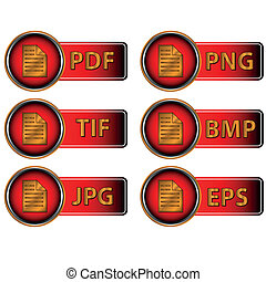 Image formats - Different image formats as red icons on a...