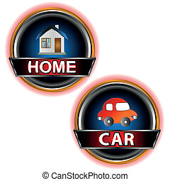 Buttons home and car on a white background