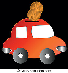 The car with coins - The car in the form of a moneybox with...
