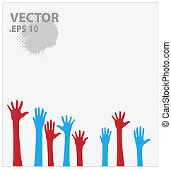 blue and red hands vector illustration