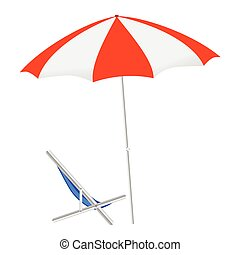 umbrella and chairs on the beach vector illustration on a...