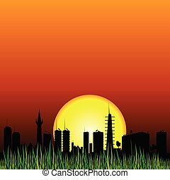 city and the sunset vector silhouette illustartion