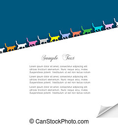 Paper background with colorful silhouettes cats