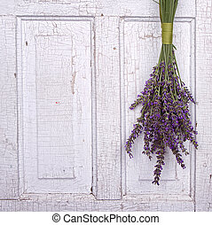 lavender hanging from an old door - Lavendar hanging from an...