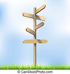 Direction road wooden signs Vector illustration