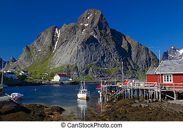 Norwegian fishing village - Picturesque fishing town of...
