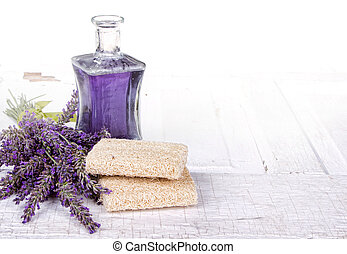 Lavender spa still life with loofah, on antique or vintage...