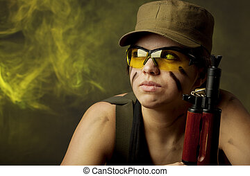 Girl soldiers in the smoke - Image of girl soldiers in the...