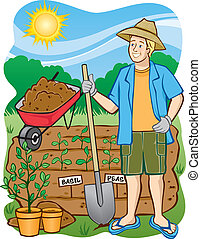 Gardening: Digging In - Vector Illustration of a man working...