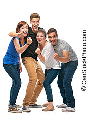 group of the college students  on a white background