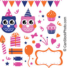 Owl birthday party design elements