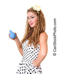 pretty pin up girl with the enema isolated - beautiful pin...