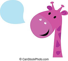 Cute pink talking giraffe isolated on white