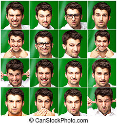 Series Of Expressive Young Man Isolated On Green Background