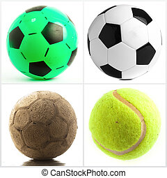 Set Of Different Balls Isolated On White Background