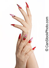 Red long nails - Hand with red long nails, on white...