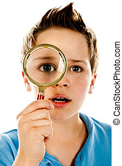 boy with magnifier on a white background