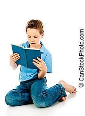 boy reading book isolated on a white background