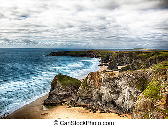 Dramatic cliff and coast landscape in Cornwall UK
