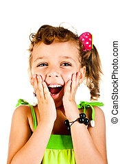 surprised girl on a white background