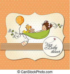 little girl siting in a pea been. baby announcement card