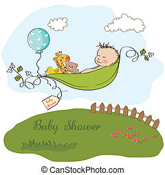 little boy sleeping in a pea been, baby shower card