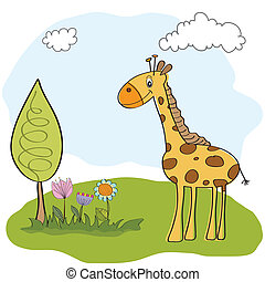 spring greeting card with giraffe