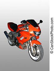 Sports red motorcycle. - Sports red motorcycle on a dark...
