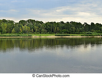 Vistula river - Wide view of Vistula coast in Mazovia...