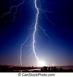 Big lightning over small town - Huge bolt of lightning hits...