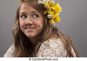 sorrindo, mulher, jovem