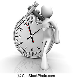 Working time - A cartoon figure with a clock. 3D rendered...