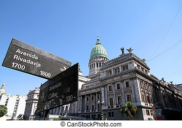 National Congress of Argentina with Street sign - The...