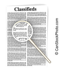 Searching the Classifieds - 3D rendered Illustration A sheet...