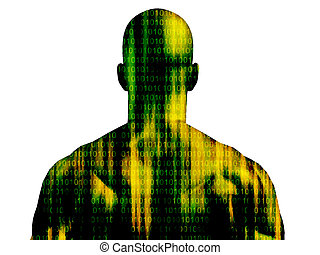 Binary code streaming on mans skin isolated on white