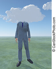 Man with cloud for head
