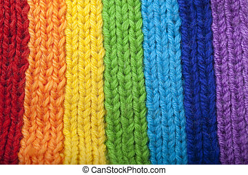 Bright rainbow knitted scarf - The image of a bright rainbow...