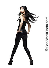 amazing girl in black leather pants and corset - Images of...