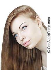 Beautiful young girl with long hair - The image of a...