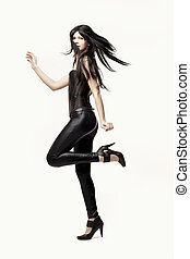 ?mazing girl in black leather pants and corset - Images of...