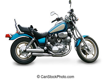 motorcycle isolated - Beautiful brilliant blue motorcycle...