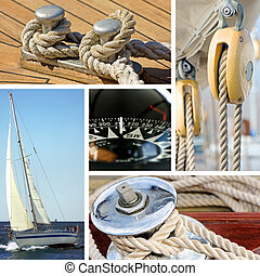 Yacht and sailboat collage