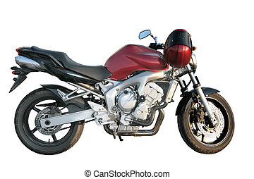 Motorcycle - Beautiful powerful sports motorcycle on a white...