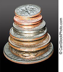 Stack of USA currency coins in macro - Macro stack of all...