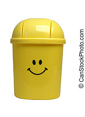 Waste basket - Smiley face yellow waste basket on white...